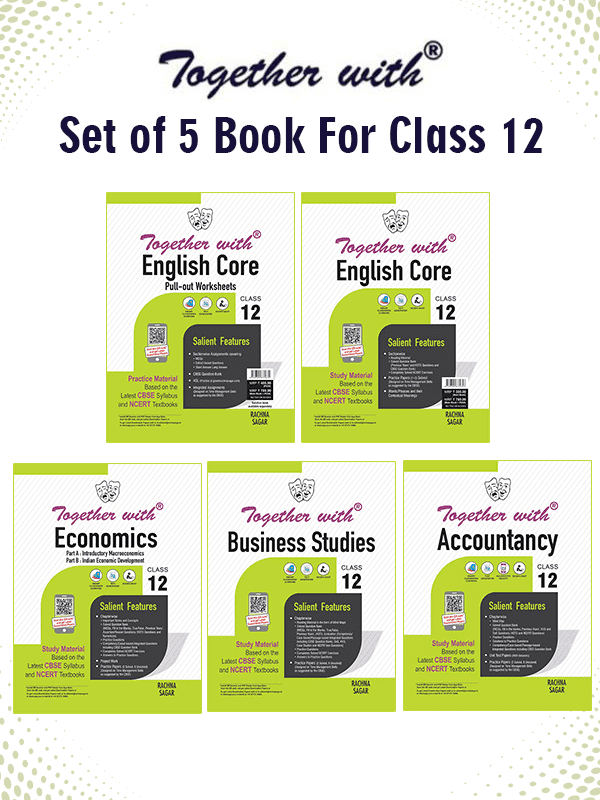 Together with English Core + Pullout worksheet, Accountancy, Business Studies and Economics Study Material for Class 12 Term I & Term II (For 2021-2022 Examination) (Set of 5 books)