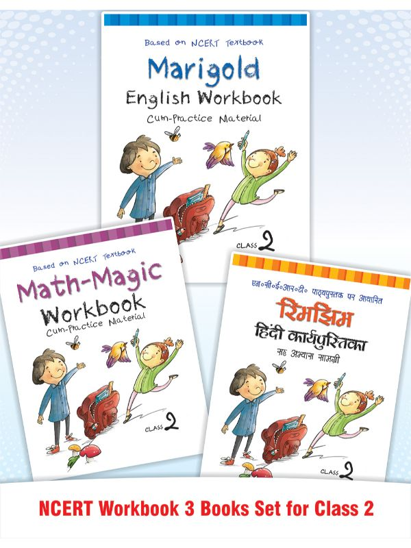Math Magic, Rimjhim & Marigold NCERT Workbook for Class 2 (Set of 3 Books)
