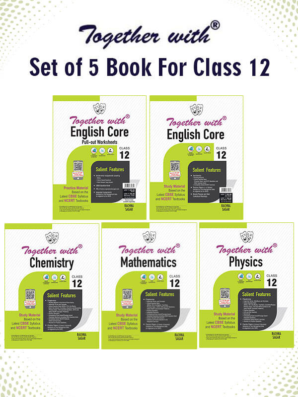 Together with English Core + Pullout worksheet, Chemistry, Physics, and Mathematics Study Material for Class 12 Term I & Term II (For 2021-2022 Examination) (Set of 5 books)